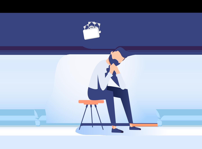 Illustration of man thinking about money